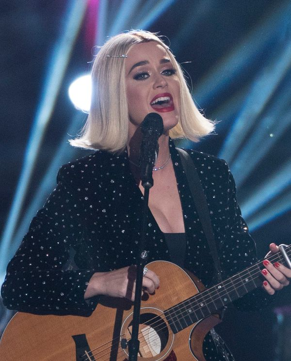 "Perry performing during the ""Idol"" finale."