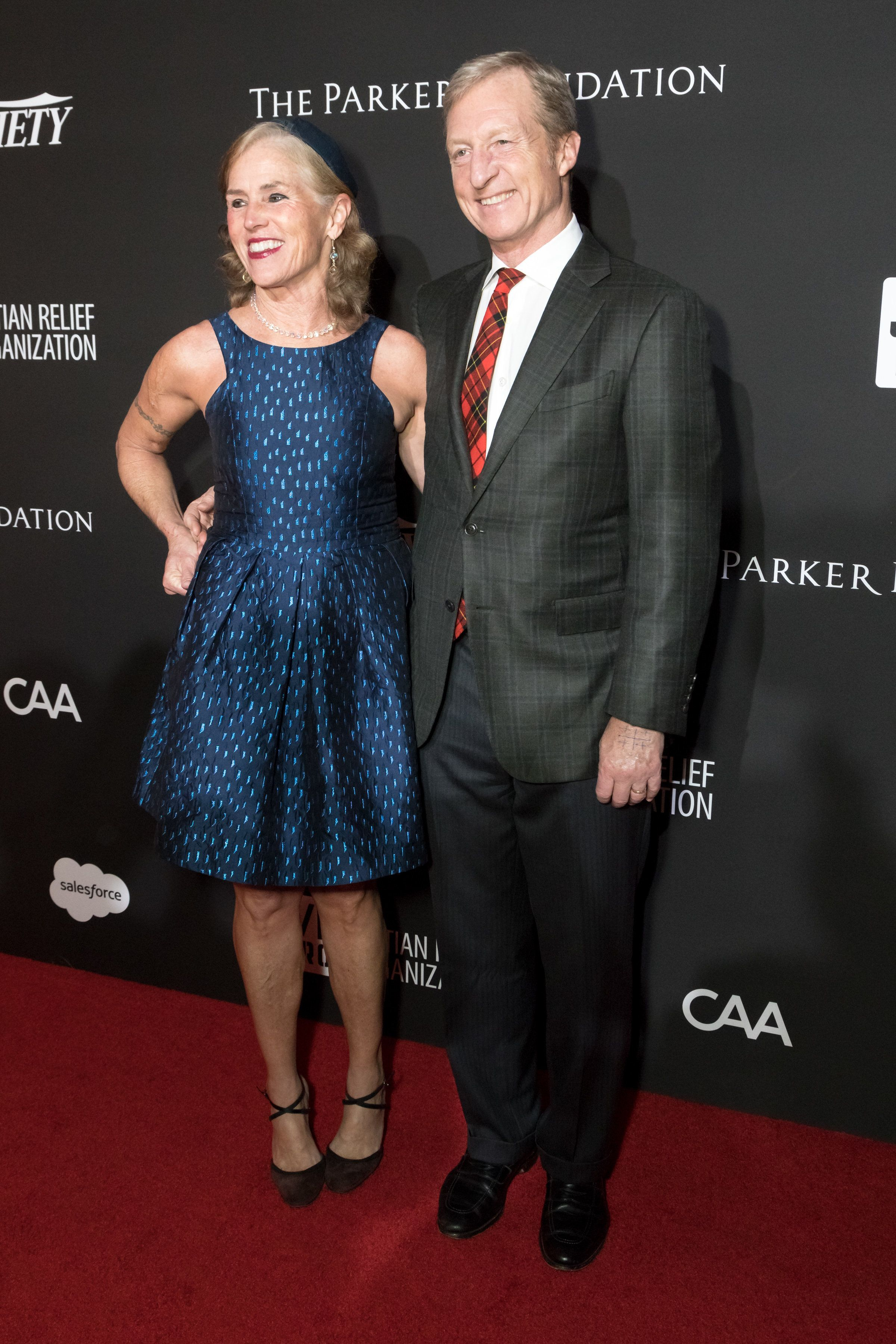 LOS ANGELES, CALIFORNIA - JANUARY 06:  Kat Taylor (L) and Tom Steyer attend the SEAN PENN J/P HRO GALA: A Gala Dinner to Benefit J/P Haitian Relief Organization and a Coalition of Disaster Relief Organizations at Milk Studios on January 6, 2018 in Los Angeles, California.  (Photo by Greg Doherty/Patrick McMullan via Getty Image)