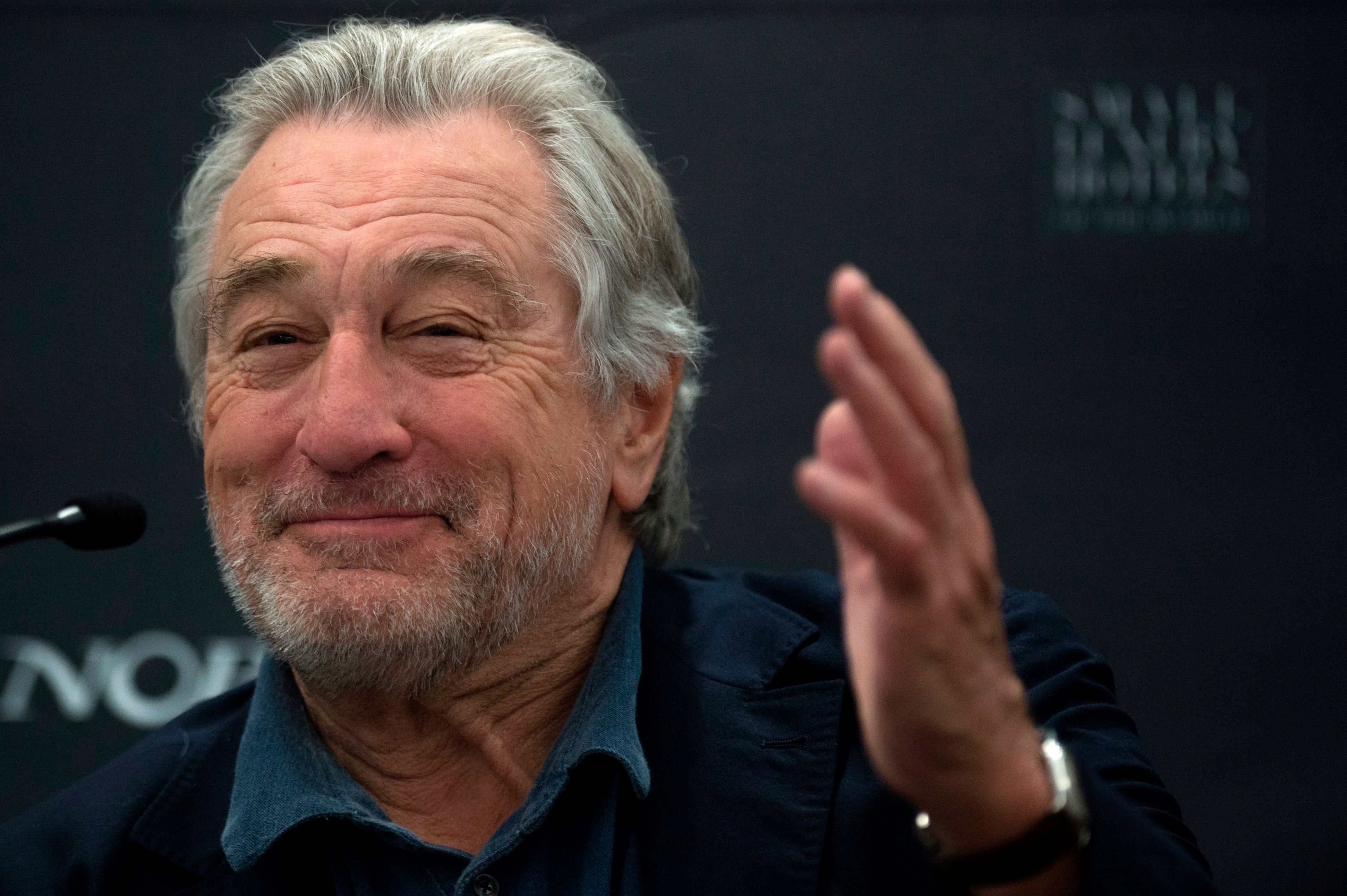 US actor Robert De Niro gives a press conference during the opening of the new Nobu Hotel Marbella, on May 16, 2018 in Marbella. (Photo by JORGE GUERRERO / AFP)        (Photo credit should read JORGE GUERRERO/AFP/Getty Images)