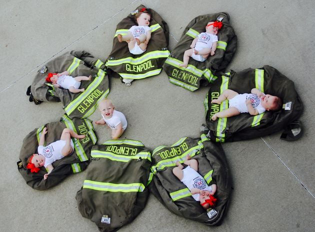 7 Firefighters Became New Dads Within Months, So Naturally They Had a
