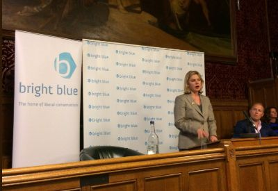 Former Education Secretary Justine Greening speaks at a Bright Blue event in Parliament in