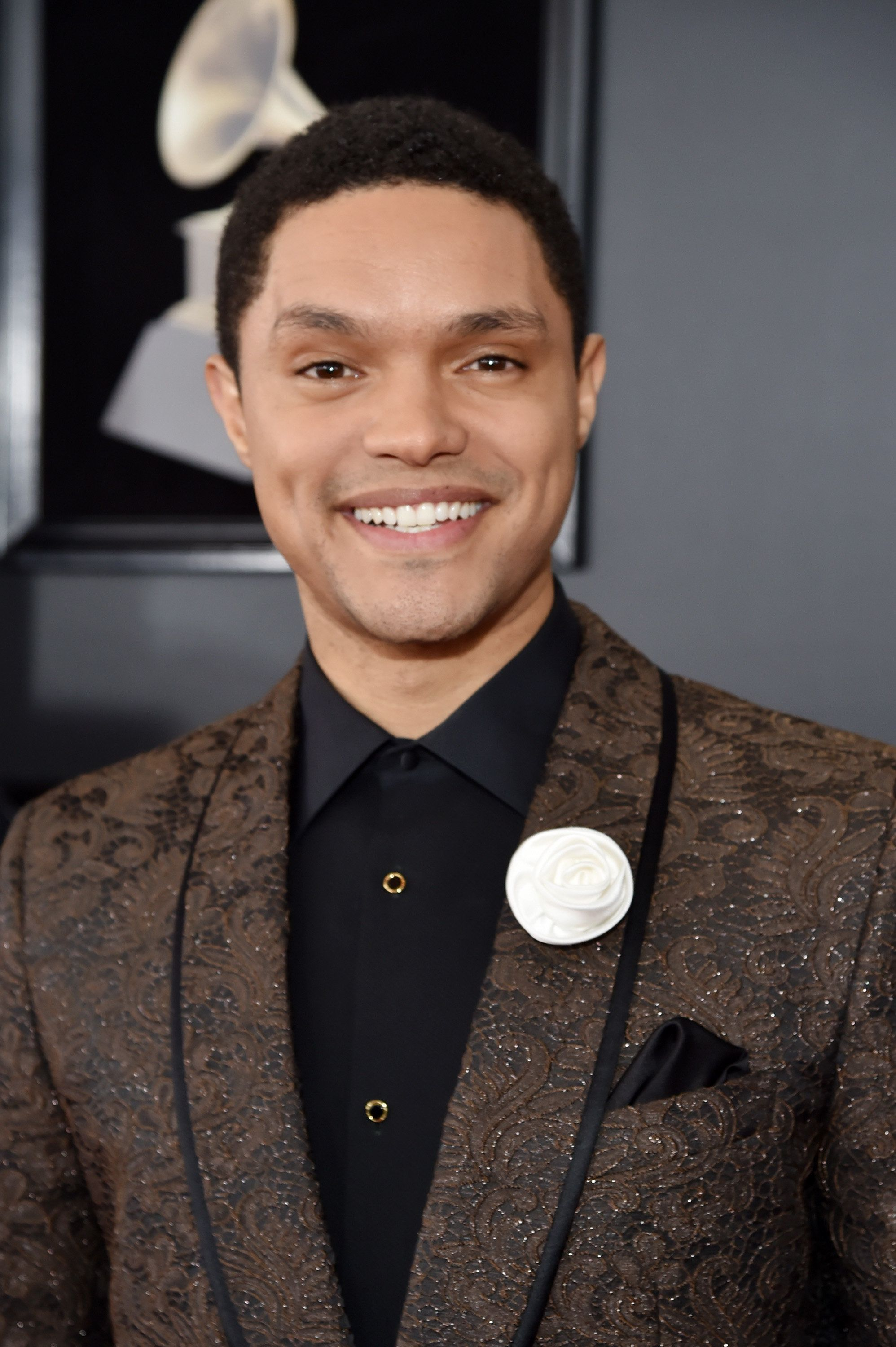 NEW YORK, NY - JANUARY 28: Comedian Trevor Noah attends the 60th Annual GRAMMY Awards at Madison Square Garden on January 28, 2018 in New York City.  (Photo by Kevin Mazur/Getty Images for NARAS)