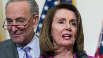 UNITED STATES - MAY 22: House Minority Leader Nancy Pelosi, D-Calif., and Charles Schumer, D-N.Y., conduct a news conference in the Capitol to announce part of the Democrats' 'A Better Deal,' plan that would increase teachers' pay and make investments in schools on May 22, 2018. (Photo By Tom Williams/CQ Roll Call)