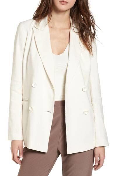 """Was: $75.00<br><a href=""""https://shop.nordstrom.com/s/leith-double-breasted-linen-blend-blazer/5013053?origin=category-persona"""