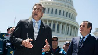 UNITED STATES - APRIL 26: Rep. Lou Barletta, R-Pa., left, and Sen. Ted Cruz, R-Texas, attend a news conference on 'finding a win-win solution for both corn farmers and refinery workers, who face skyrocketing RINs (renewable identification numbers) prices under the renewable fuel standard,' on the east lawn of the Capitol on April 26, 2018. (Photo By Tom Williams/CQ Roll Call)