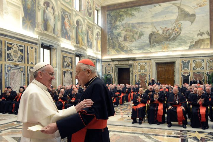 Pope Francis greets Cardinal Angelo Sodano, the dean of the College of Cardinals, in the Clementine Hall in a picture release