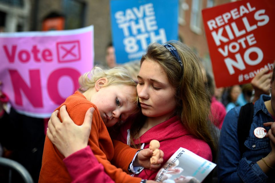 A woman and her young nephew pictured at a pro-life rally in