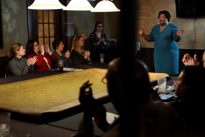 Stacey Abrams speaks at a Young Democrats of Cobb County meeting on Nov. 16.