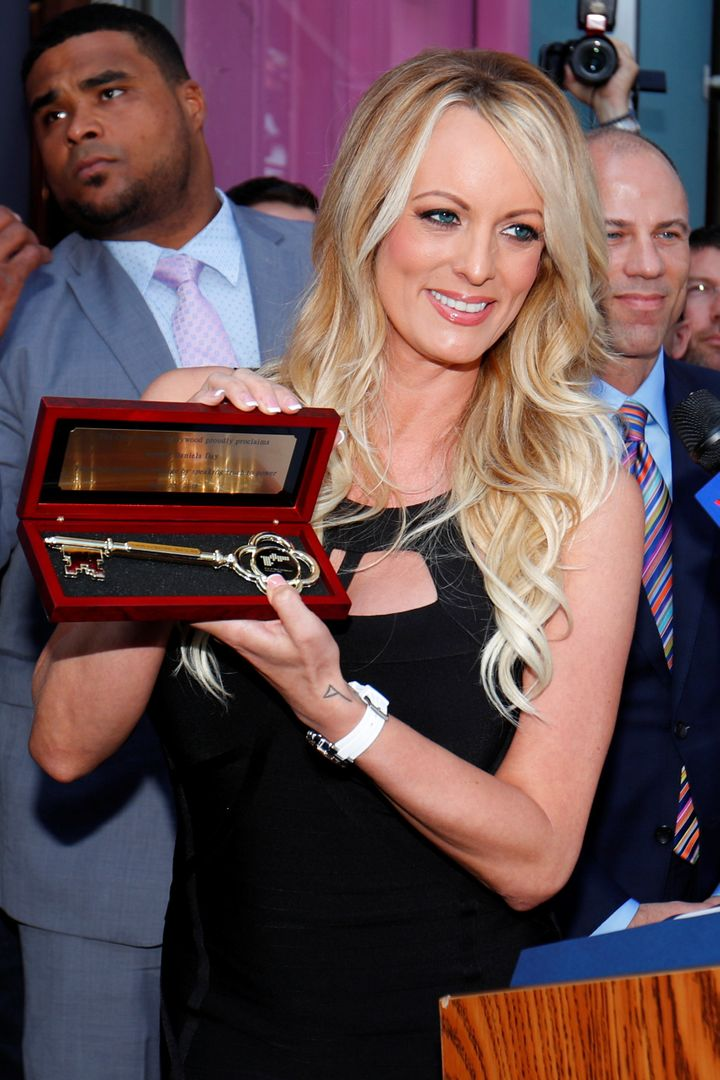 Adult film star Stormy Daniels received a key to West Hollywood, California, on Wednesday for taking on Presid
