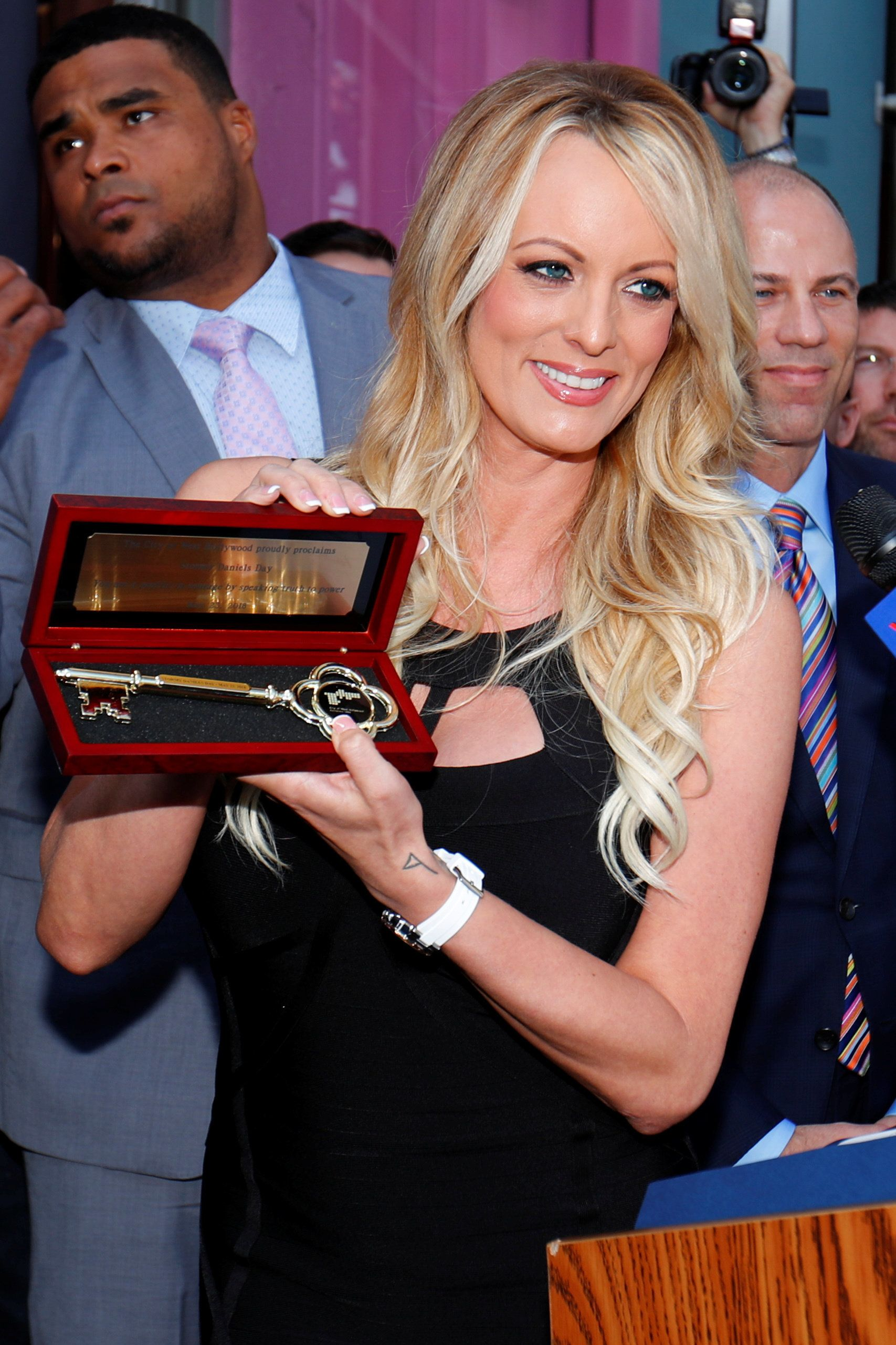 Adult film star Stormy Daniels receiveda keyto West Hollywood, California, on Wednesday fortaking on Presid