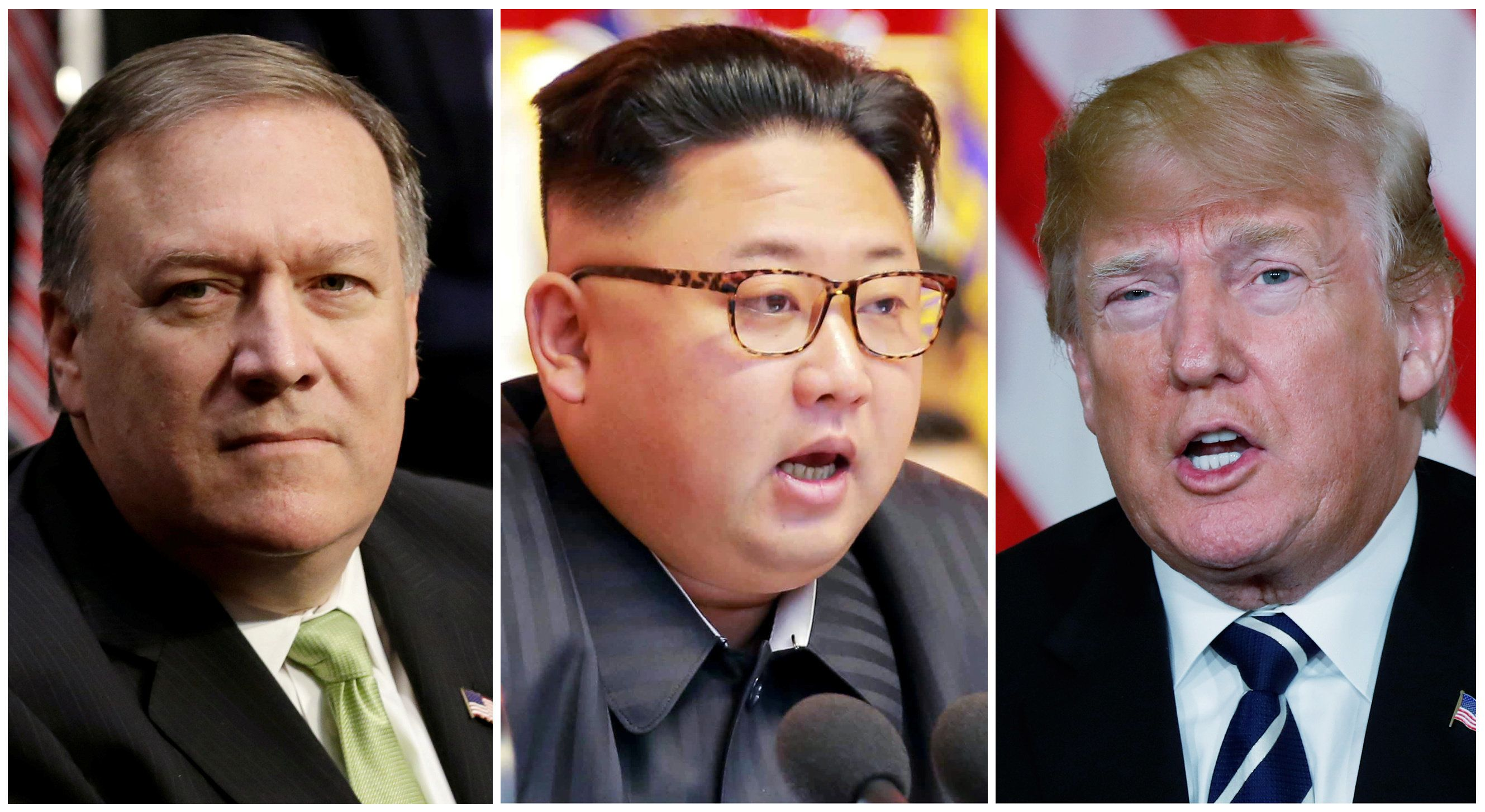 FILE PHOTO: A combination photo shows CIA Director Mike Pompeo (L) in Washington, North Korean leader Kim Jong Un (C) in Pyongyang, North Korea and U.S. President Donald Trump (R), in Palm Beach, Florida, U.S., respectively from Reuters files.   REUTERS/Yuri Gripas (L) & KCNA handout via Reuters & Kevin Lamarque (R)    ATTENTION EDITORS - THIS PICTURE WAS PROVIDED BY A THIRD PARTY. REUTERS IS UNABLE TO INDEPENDENTLY VERIFY THE AUTHENTICITY, CONTENT, LOCATION OR DATE OF THIS IMAGE. FOR EDITORIAL USE ONLY. NOT FOR SALE FOR MARKETING OR ADVERTISING CAMPAIGNS. NO THIRD PARTY SALES. NOT FOR USE BY REUTERS THIRD PARTY DISTRIBUTORS. SOUTH KOREA OUT. NO COMMERCIAL OR EDITORIAL SALES IN SOUTH KOREA.