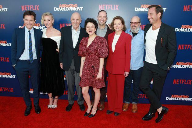 The cast at a series five premiere last