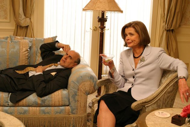 Jessica Walter in character as Lucille Bluth, with co-star Jeffrey