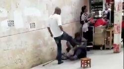 Mann verprügelt Bettler auf offener Straße – ein Passant reagiert