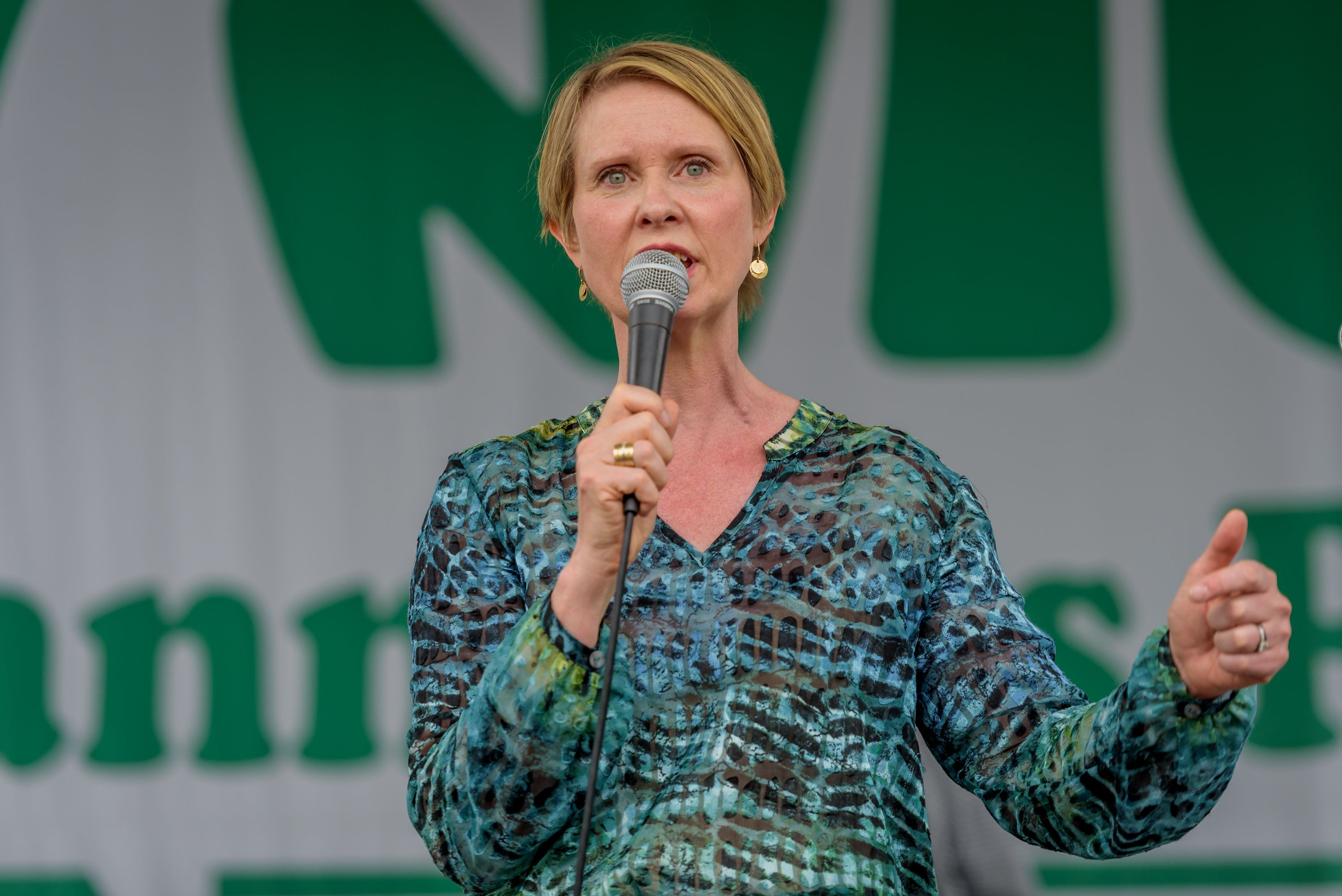 UNION SQUARE PARK, NEW YORK, UNITED STATES - 2018/05/05: Cynthia Nixon, a candidate running for governor - The NYC Cannabis Parade and Rally, New Yorks longest running annual pro-cannabis demonstration, returned for its 47th year. The event started in Midtown Manhattan and marched to Union Square Park for an afternoon rally, with a powerful roster of elected officials, including two state legislators and three City Council Members, speaking from stages in Midtown and Union Square Park throughout the day. (Photo by Erik McGregor/Pacific Press/LightRocket via Getty Images)