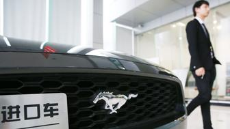 This photo taken on May 22, 2018 shows an imported Ford Mustang displayed at a showroom in Nantong in China's eastern Jiangsu province. - China announced on May 22 that it would cut tariffs on auto imports from July 1, the latest sign of a thaw in trade frictions with the United States. (Photo by - / AFP) / China OUT        (Photo credit should read -/AFP/Getty Images)