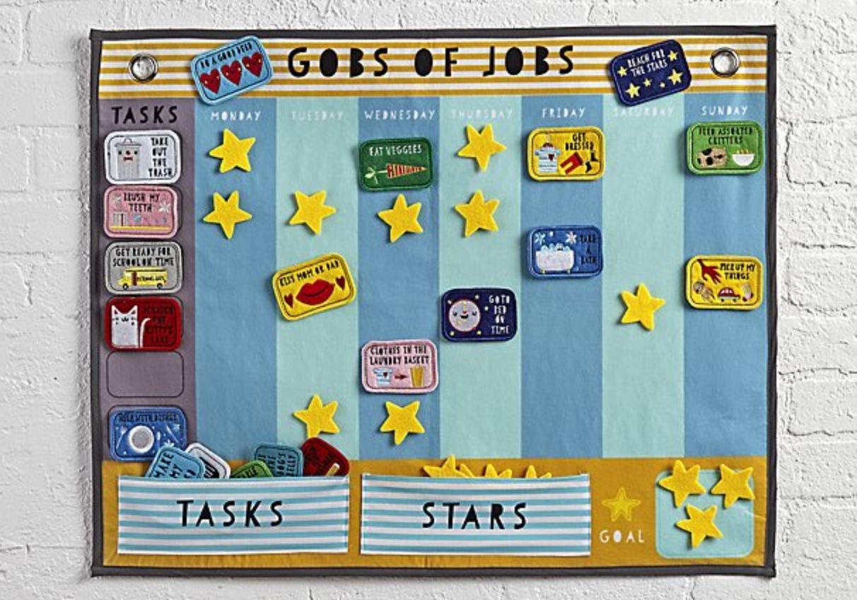 "The felt and velcro 'Gob of Jobs' calendarfeatures various tasks, such as ""eaten..."