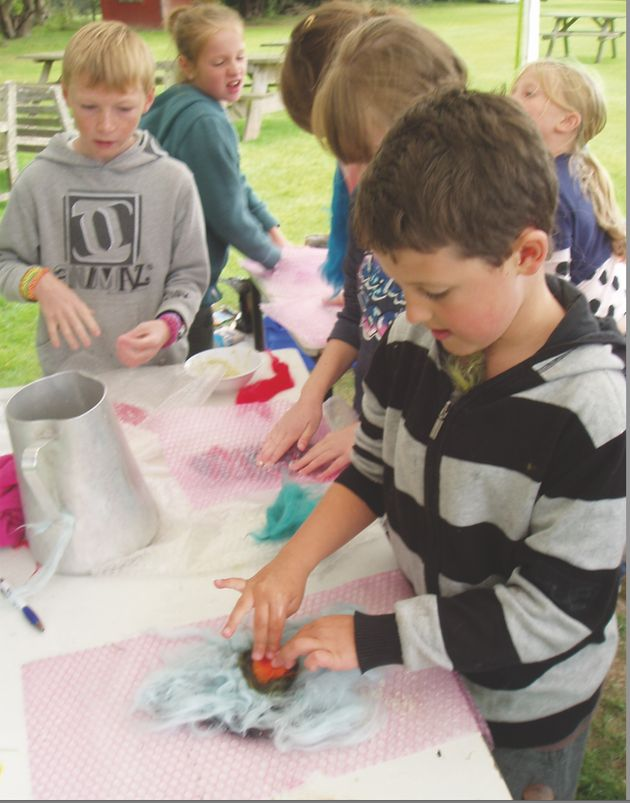 Ben (at the front) doing crafts during an ATE