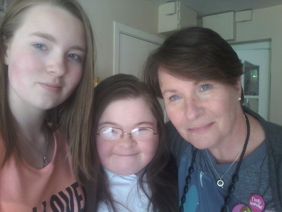 Oonagh McDermott with her daughters Ellen and