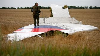 "An armed pro-Russian separatist stands on part of the wreckage of the Malaysia Airlines Boeing 777 plane after it crashed near the settlement of Grabovo in the Donetsk region, July 17, 2014. The Dutch are due to announce on Wednesday 28 September the long-awaited results of an investigation with Australia, Malaysia, Belgium and Ukraine into the July 17, 2014 downing of the flight.    REUTERS/Maxim Zmeyev/File Photo          FROM THE FILES PACKAGE - SEARCH ""FILES MH17"" FOR ALL 20 IMAGES"