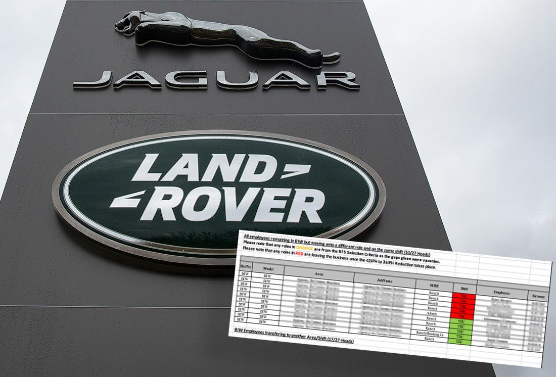 Jaguar Land Rover Workers Facing Layoffs Learn Fate Through Huge 'Data