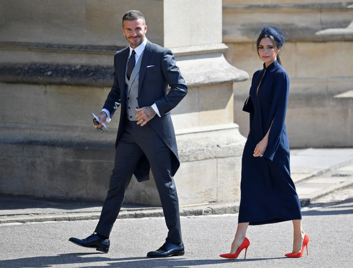 David and Victoria Beckham arrive at the royal wedding on May 19.