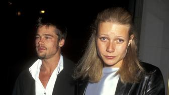 NEW YORK CITY - MAY 2:   Actor Brad Pitt and actress Gwyneth Paltrow attend the 'Hamlet' Broadway Play Opening Night Performance on May 2, 1995 at the Belasco Theatre in New York City. (Photo by Ron Galella, Ltd./WireImage)
