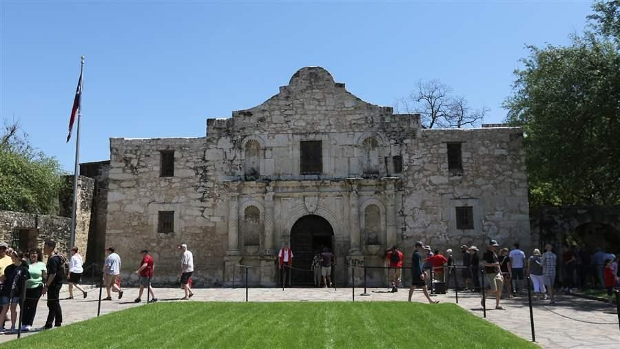 Tourists visit the Alamo in downtown San Antonio the U.S. city with the largest increase in population from 2016 to 2017