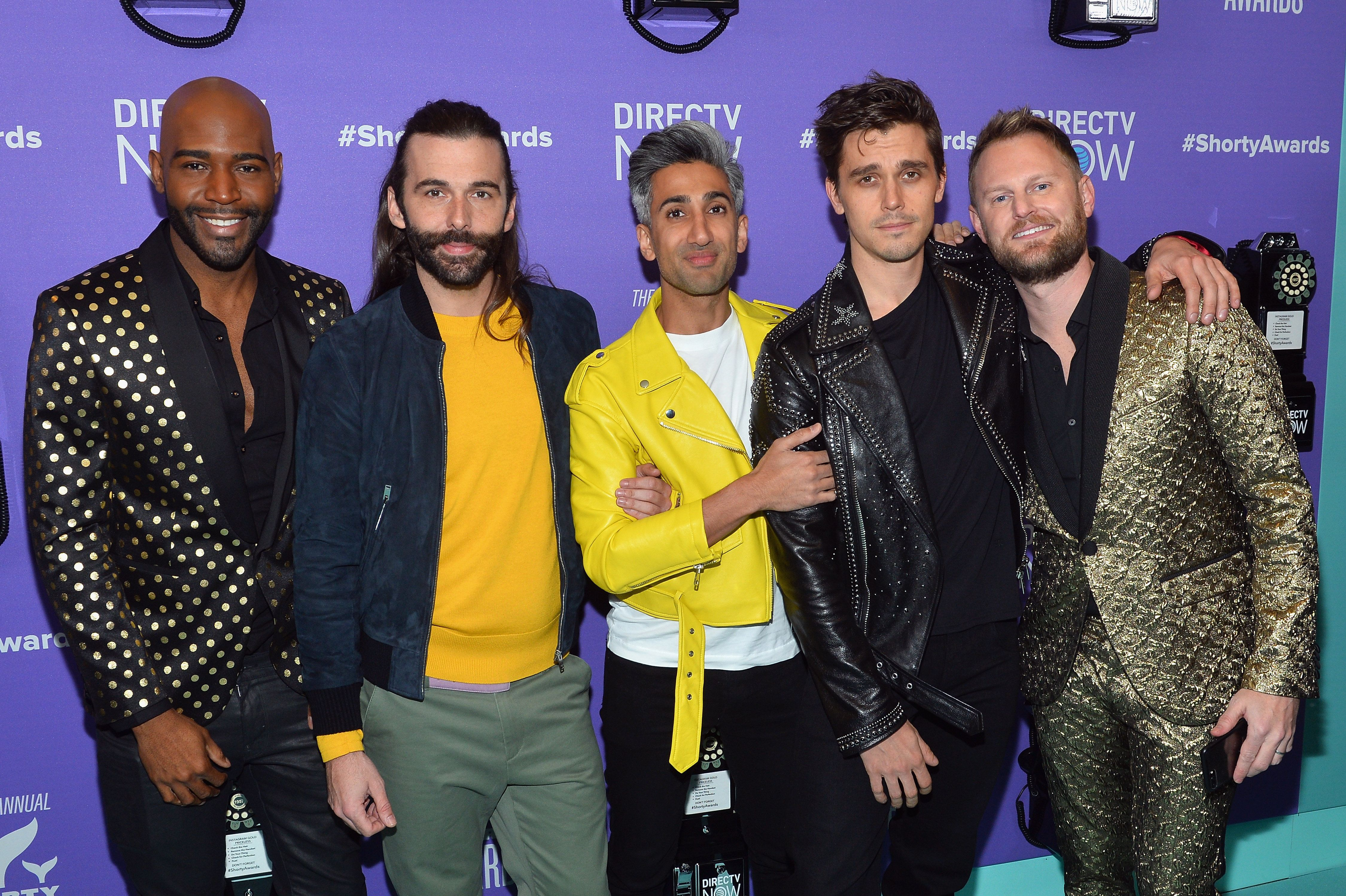NEW YORK, NY - APRIL 15:  (L-R) Karamo Brown, Jonathan Van Ness, Tan France, Antoni Porowski, and Bobby Berk of Queer Eye attend the 10th Annual Shorty Awards at PlayStation Theater on April 15, 2018 in New York City.  (Photo by Noam Galai/Getty Images for Shorty Awards)