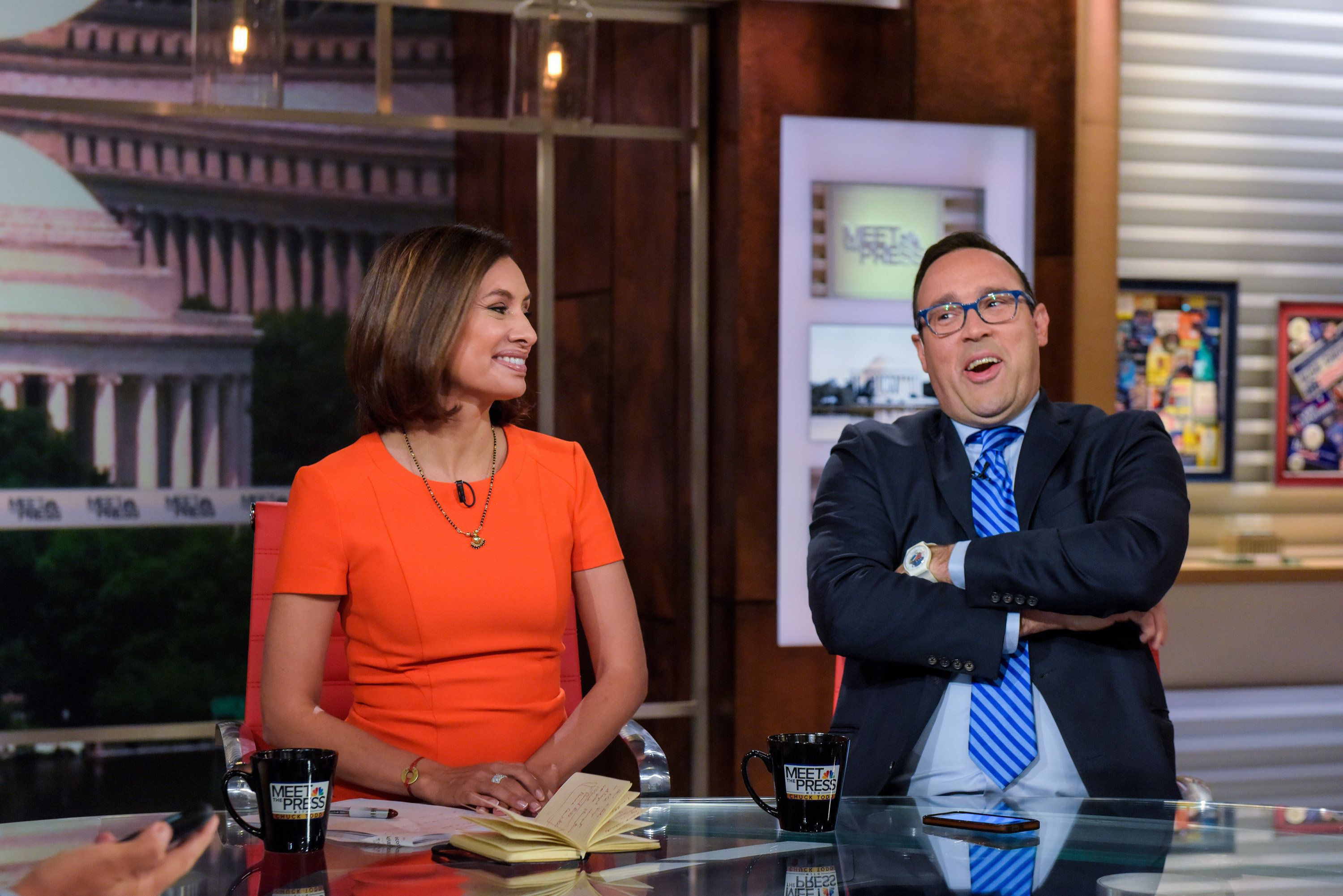 MEET THE PRESS -- Pictured: (l-r) ? Maria Teresa Kumar, President & CEO, VotoLatino, left, and Chris Cillizza, Political Reporter for The Washington Post; MSNBC Political Analyst, right, appear on 'Meet the Press' in Washington, D.C., Sunday September 4, 2016.  (Photo by: William B. Plowman/NBC/NBC NewsWire via Getty Images)
