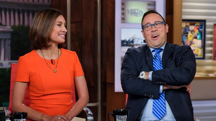 "Ratio King Chris Cillizza (right) sits with Maria Teresa Kumar for a ""Meet The Press"" interview."