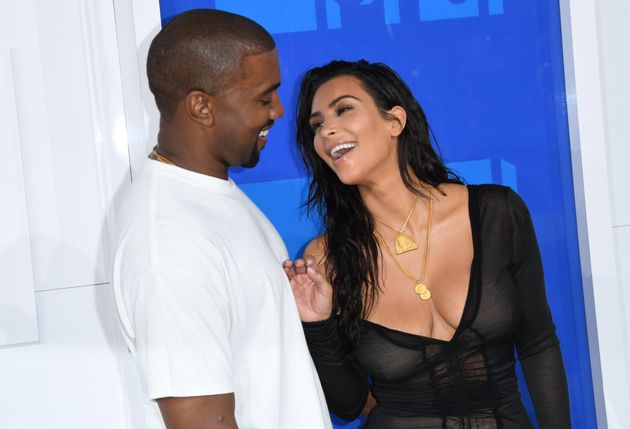Kanye West and Kim Kardashian looking happytogether at the 2016 MTV Video Music
