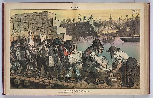 """The Anti-Chinese Wall,"" an 1882 political cartoon from ""The Puck"" magazine, which reads: ""The"