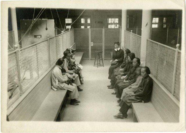 Chinese women detained at Angel Island, California. Courtesy of the California Historical Society.