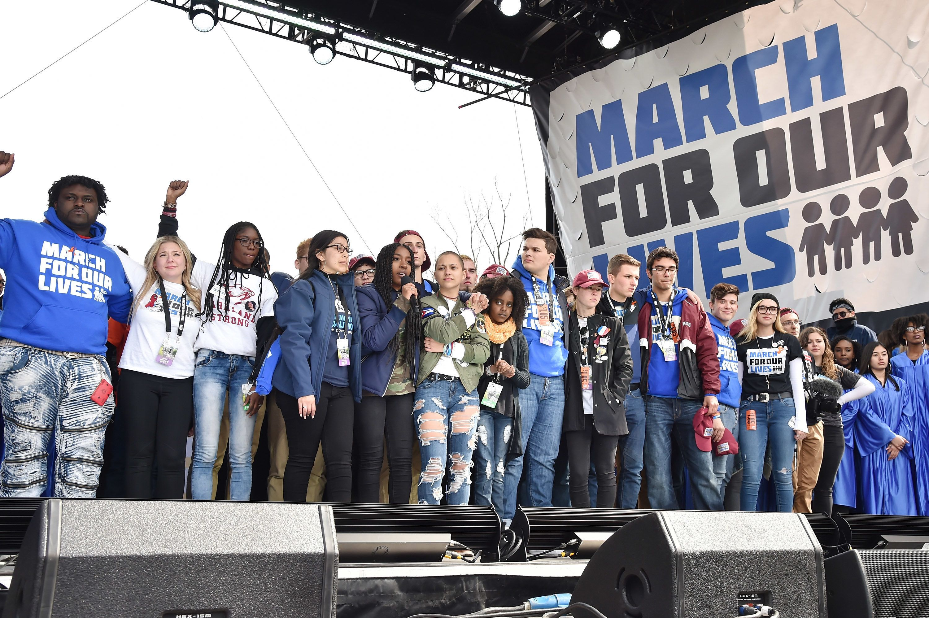 WASHINGTON, DC - MARCH 24:  Edna Chavez, Emma Gonzalez and Noami Wadler pose onstage with students at March For Our Lives on March 24, 2018 in Washington, DC.  (Photo by Kevin Mazur/Getty Images for March For Our Lives)