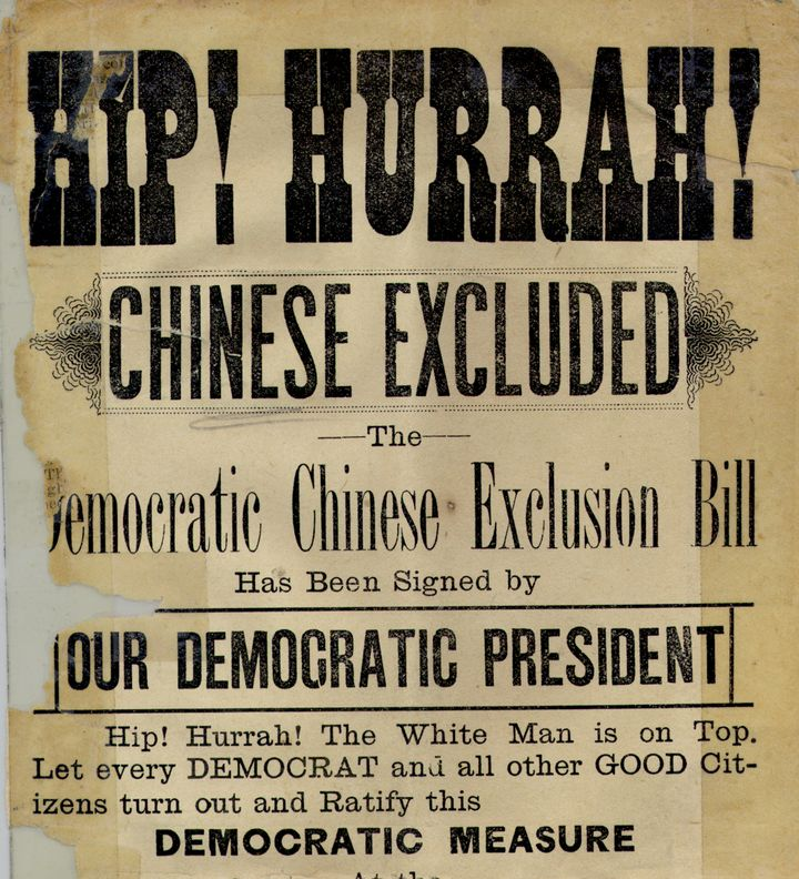 """Aposter celebrating the Chinese Exclusion Act's passage, proclaiming that """"The White Man is on Top.""""Courtesy of t"""