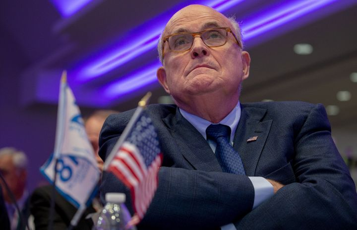 Rudy Giuliani attends the Conference on Iran on May 5th.