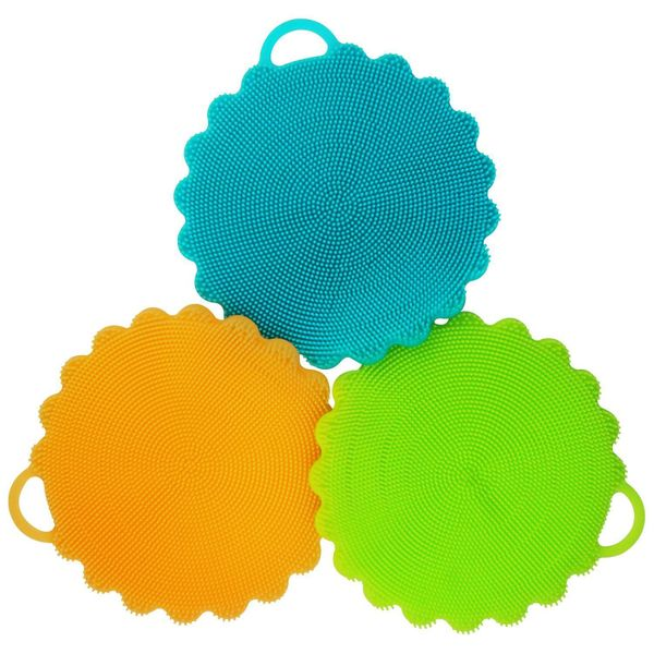 These reusable scrubbers can be used all around the kitchen. Use them as vegetable brushes, pan scrubbers, pot grippers and e