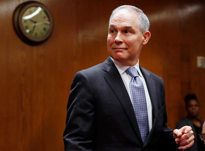 EPA Administrator Scott Pruitt arrives to testify before a Senate panel on May 16.