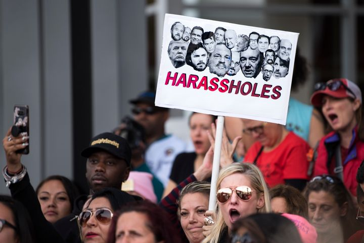 Protesters attend a Me Too rally to denounce sexual harassment and assaults of women in Los Angeles, California on November 1