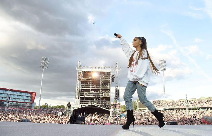 Grande performs on stage during the One Love Manchester Benefit Concert at Old Trafford Cricket Ground on June 4, 2017 in Man
