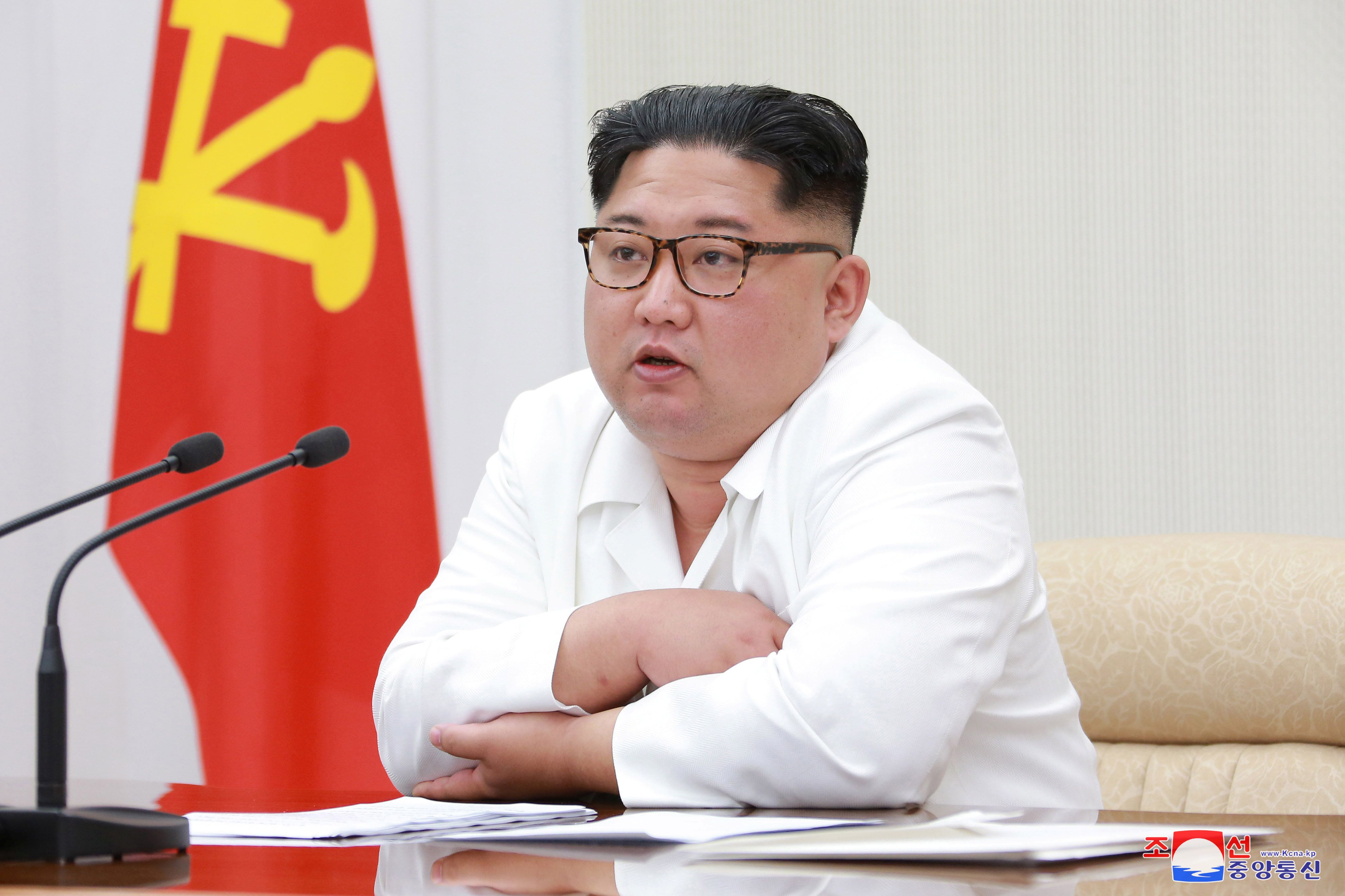 North Korean leader Kim Jong Un speaks during the first enlarged meeting of the seventh Central Military Commission of the Workers' Party of Korea (WPK), in this undated photo released by North Korea's Korean Central News Agency (KCNA) in Pyongyang May 18, 2018. KCNA/via REUTERS ATTENTION EDITORS - THIS PICTURE WAS PROVIDED BY A THIRD PARTY. REUTERS IS UNABLE TO INDEPENDENTLY VERIFY THE AUTHENTICITY, CONTENT, LOCATION OR DATE OF THIS IMAGE. NO THIRD PARTY SALES. SOUTH KOREA OUT.