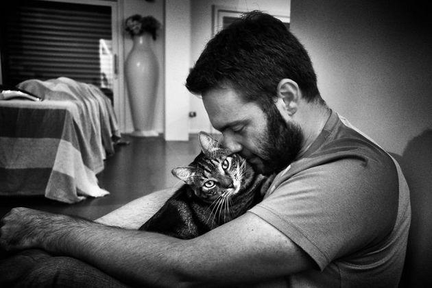 프란체스코가 일을 끝내고 집에 돌아왔을 때, 맨 처음 하는 일은 고양이 핍포를 안고 그와 얼굴을 부비는