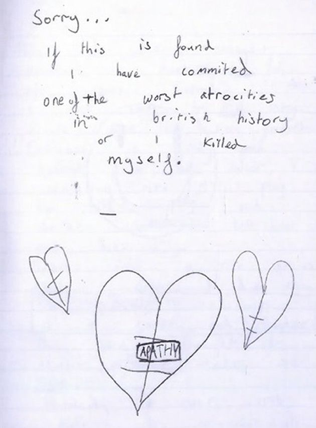 Page from a diary kept by the older boy in which he discussed his motivations for wanting to carry out...