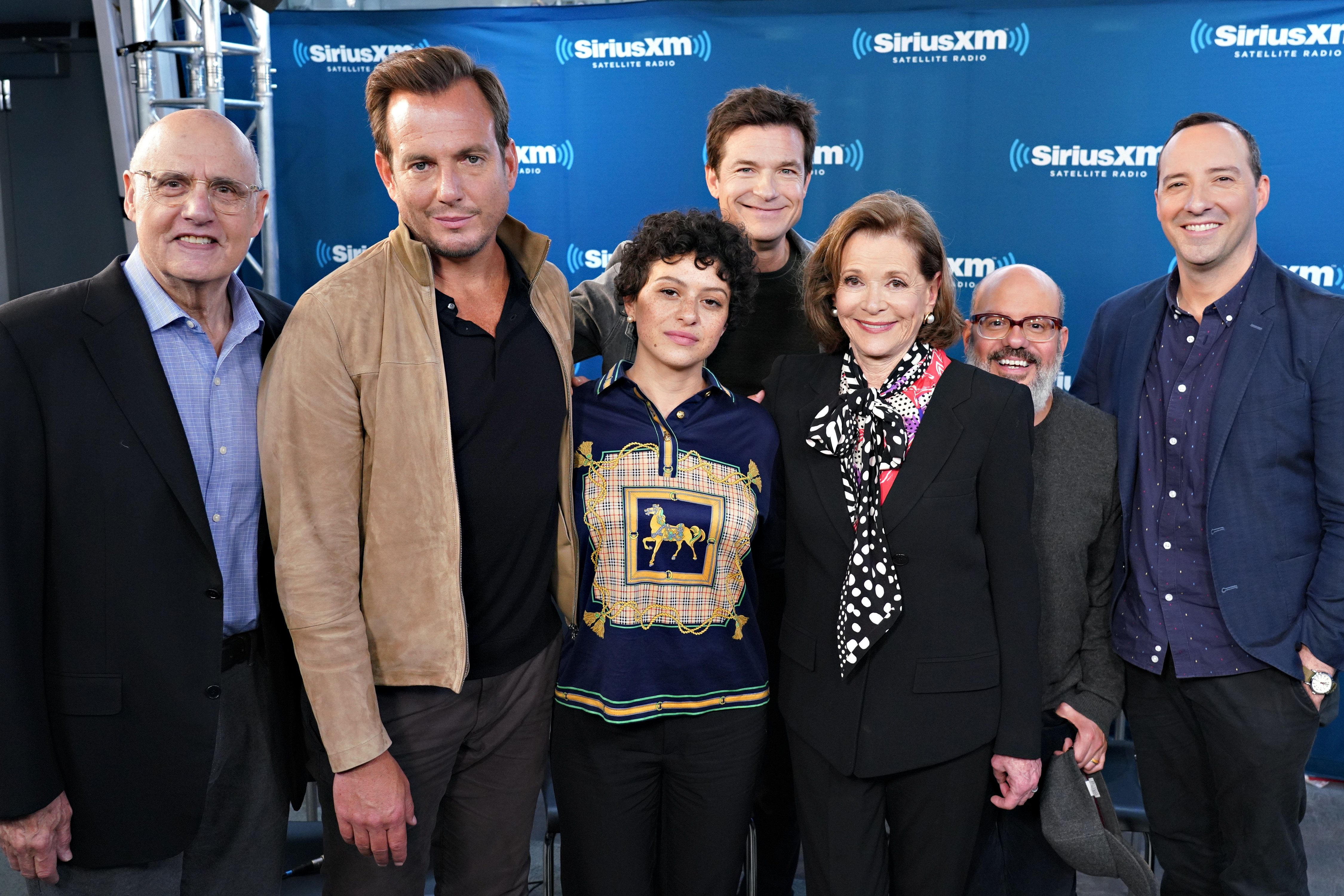 NEW YORK, NY - MAY 21:  (Back Row L-R) Jeffrey Tambor, Jason Bateman, Tony Hale, David Cross (Front Row L-R) Will Arnett, Alia Shawkat and Jessica Walter take part in SiriusXM's Town Hall with the cast of Arrested Development hosted by SiriusXM's Jessica Shaw at SiriusXM Studio on May 21, 2018 in New York City.  (Photo by Cindy Ord/Getty Images for SiriusXM)