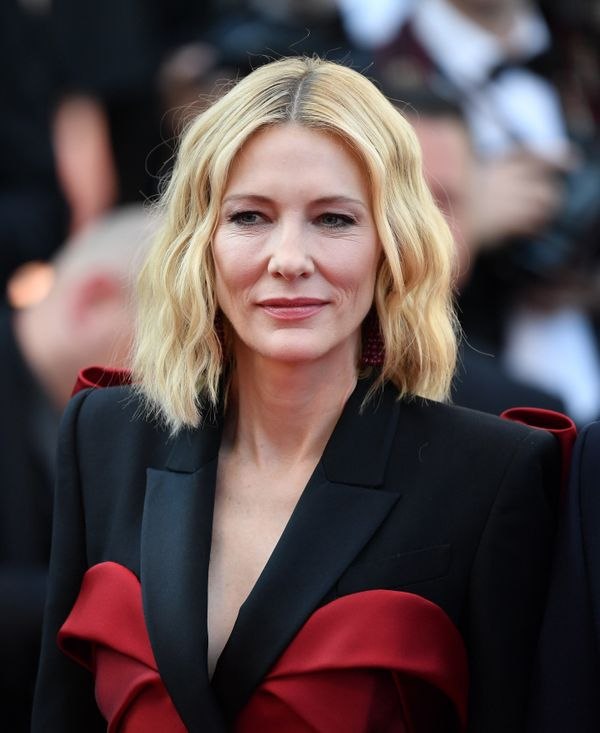 """Cate Blanchett's wavy blunt lob is the ultimate cool-girl hairstyle. Plus, this cut is <a href=""""http://www.instyle.com/hair/h"""