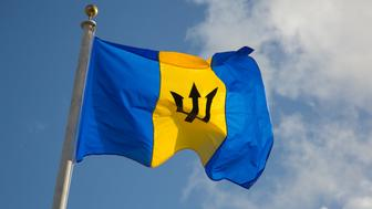 The Barbados Flag fluttering in the island breeze