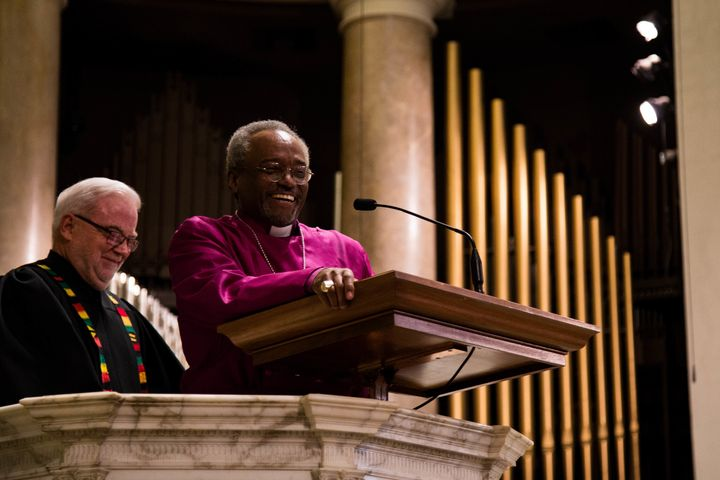 Bishop Michael Curry, presiding bishop of the Episcopal Church, preaches at the National City Christian Church in Washin