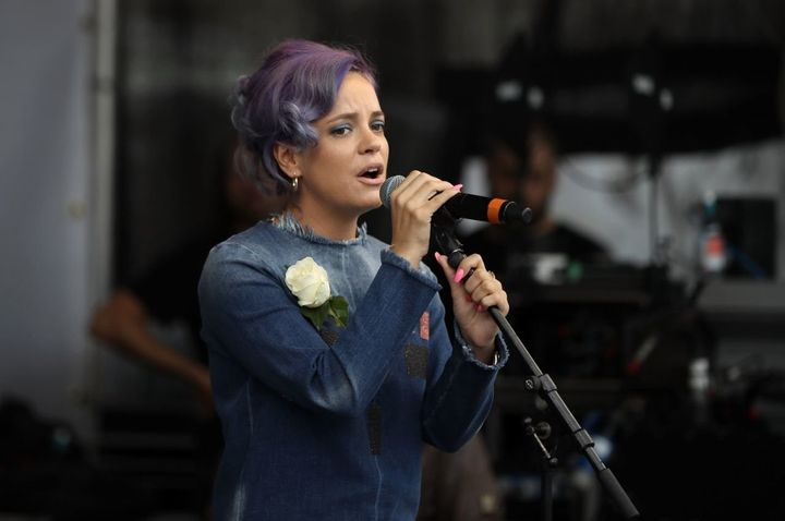 """Lily Allen used the post to promote her new album, """"No Shame."""""""
