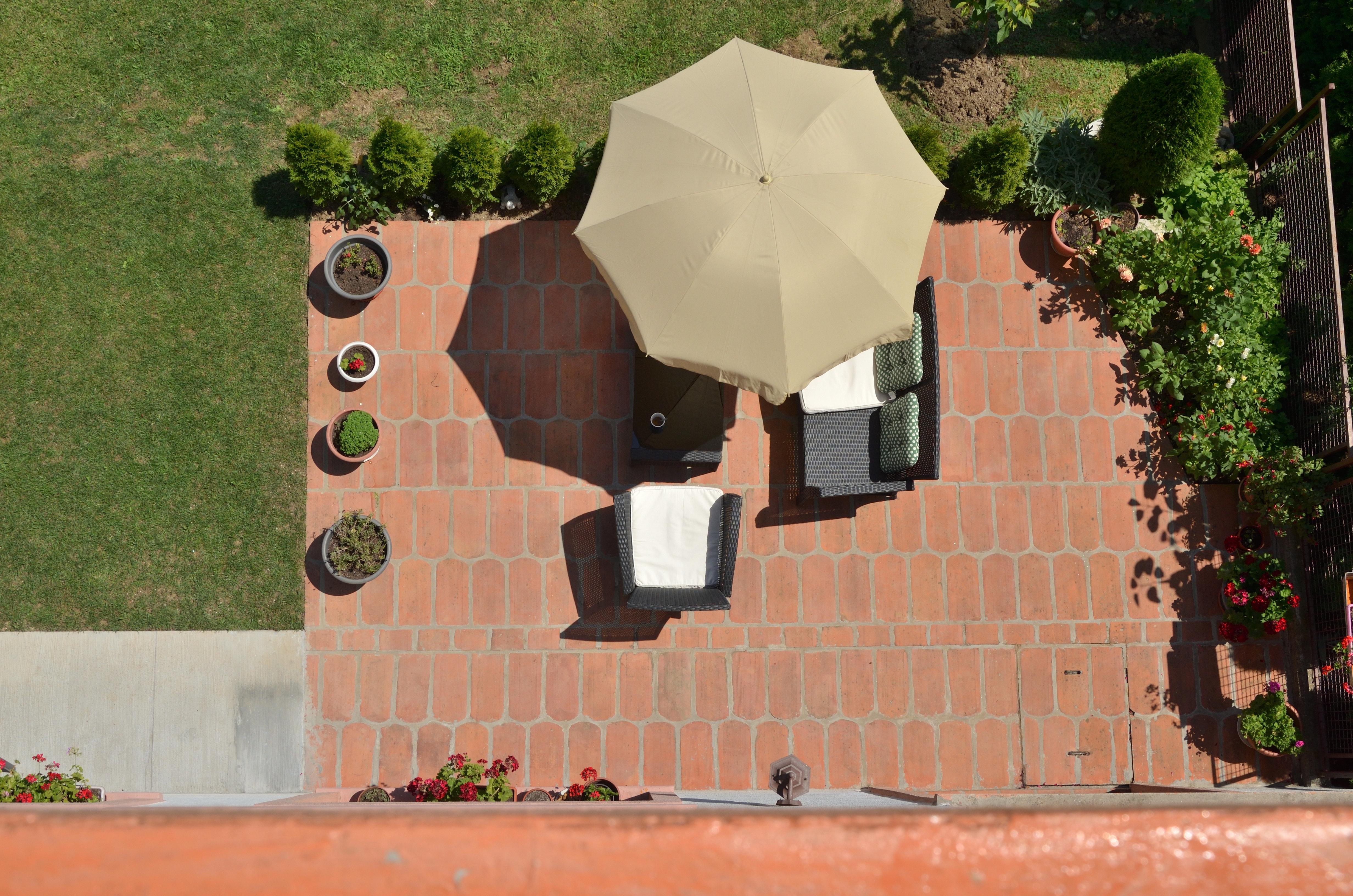 Ehepaar sitzt auf der Terrasse, als plötzlich etwas Ekliges vom Himmel fällt
